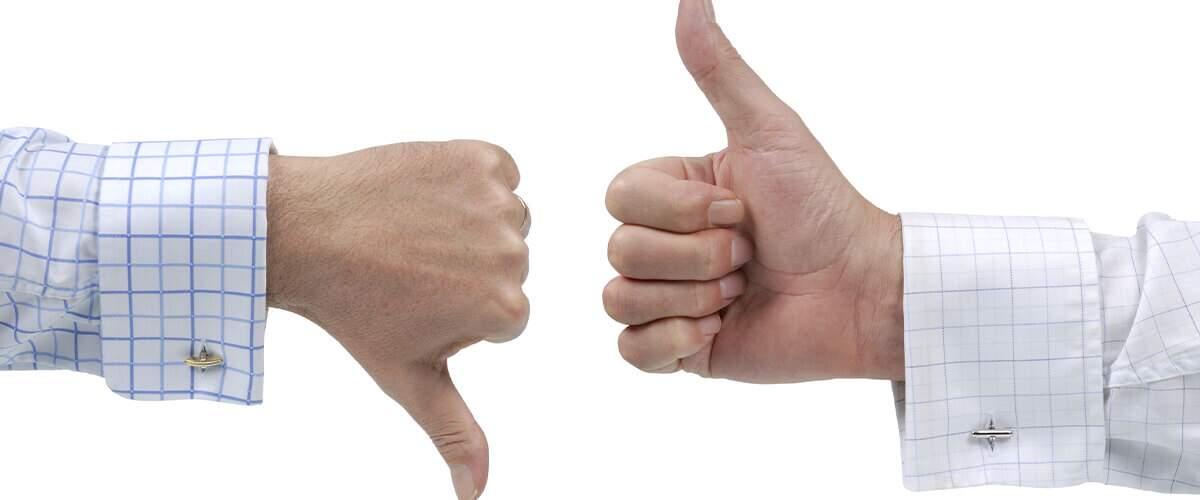 imagem que represente gesto com as mãos de positivo e negativo